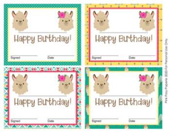 Llama Theme Birthday Certificates