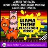 Llama Theme Classroom Decor EDITABLE (Llama Classroom Deco