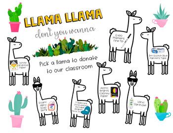 Llama Theme Classroom Wishlist