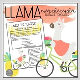 Llama Theme EDITABLE Meet the Teacher Templates