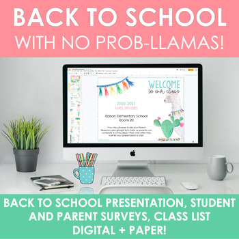 Llama-Themed Back to School Pack (Editable & Digital)