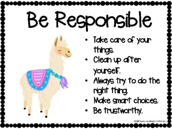Llama Themed Character Education - Character Trait of the Week