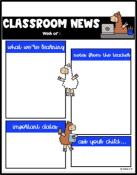 Llama Themed Class Newsletter Template EDITABLE