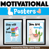 Llama Themed Motivational Posters for Back to School Bulle