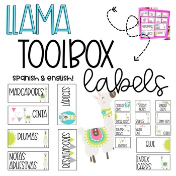 Llama Toolbox Labels! Spanish and English Included! 17 labels!