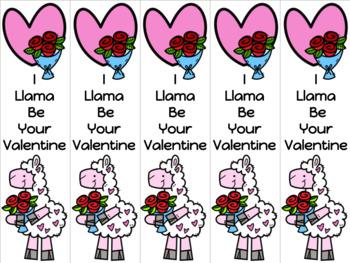 Llama Valentine bookmark 2