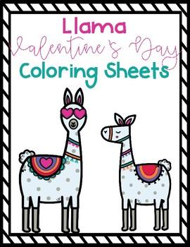 Llama Valentine's Day Coloring Sheets