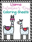Llama Valentine's Day Coloring Sheets