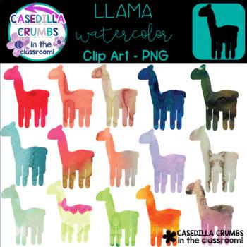 Llama Watercolor Clip Art - 12 Images