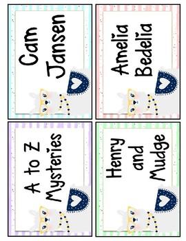 Llama Watercolor Library Labels EDITABLE