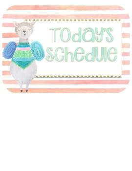 Llama Watercolor Schedule Cards