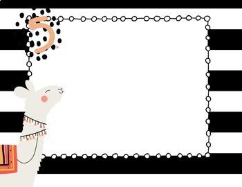 Llama White / Black Decor - editable