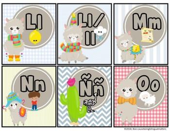 Llama alphabet card set
