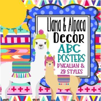 Llama and Alpaca ABC Manuscript Posters *D'Nealian & Zaner-Bloser