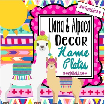 Llama and Alpaca Theme Name Plates **editable**