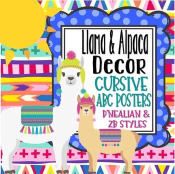 Llama and Alpaca Themed Cursive ABC Posters *D'Nealian & ZB styles*