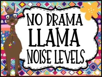 Llama and Alpaca Themed Noise Level Chart  *editable*