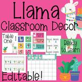 Llama and Cacti Classroom Decor Editable