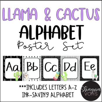 Llama and Cactus Alphabet Posters- Classroom Decor