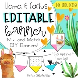 Llama and Cactus Classroom Decor Editable Banner / Bulletin Board Display