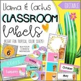 Llama and Cactus Classroom Decor Editable Labels