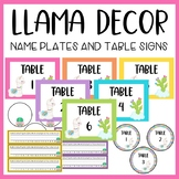 Llama and Cactus Classroom Decor: Editable Name Plates and