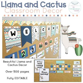Llama and Cactus Classroom Decor Fully Editable Theme
