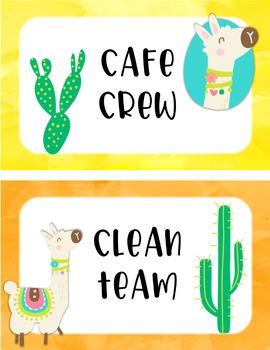 Llama and Cactus Classroom Job Crews and Teams