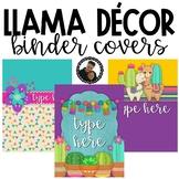 Llama and Cactus Classroom Theme Decor - Binder Covers