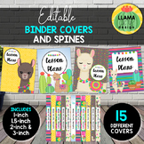 Llama and Cactus Editable Binder Covers and Spines