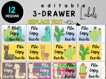 Llama and Cactus Editable Classroom Labels and Posters