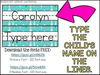 Llama and Cactus Editable Cubby Labels - Llama and Cactus Cubby Labels