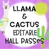 Llama and Cactus Editable Hall Passes