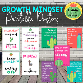 Llama and Cactus Growth Mindset Printable Posters Classroom Decor