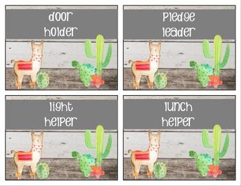 Llama and Cactus Classroom Job Chart