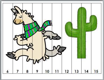 Llama and Cactus Math - Number Puzzles 1-20