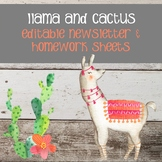 Llama and Cactus Newsletter and Weekly Homework Sheets - Editable