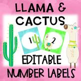 Llama and Cactus Number Labels Editable