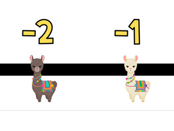 Llama and Cactus Number Line PRINTABLE (with Integers) Classroom Decor