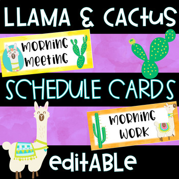 Llama and Cactus Schedule Cards Editable