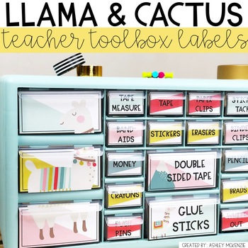 Llama and Cactus Teacher Toolbox Labels -Editable
