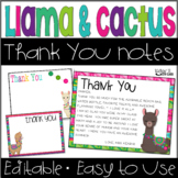 Llama and Cactus Thank You Cards for Teachers