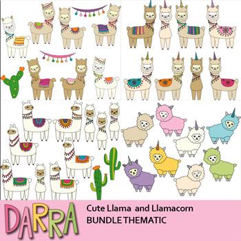 Llama and Llamacorn Alpaca Clipart Bundle