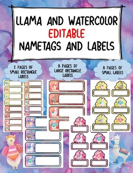 Name Tags and Labels-Llama and Watercolor Themed-Editable