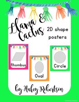 Llama and cactus 2D shape posters