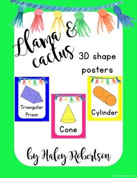 Llama and cactus 3D shape posters