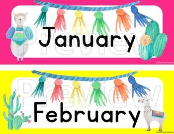 Llama and cactus calendar months