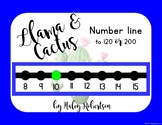 Llama and cactus number line to 120 or 200