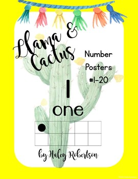 Llama and cactus number posters with ten frames #1-20