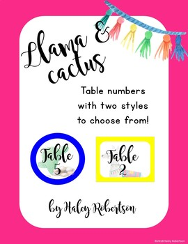 Llama and cactus table numbers (2 options) EDITABLE